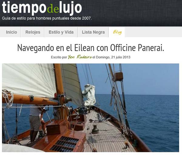 Captura de pantalla perteneciente al blog de Tiempo de Lujo.