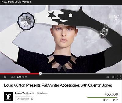 Vídeo de Quentin Jones para Louise Vuitton. Promoción de los accesorios de otoño-invierno 2013-14