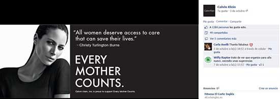 Imagen de la promoción en Facebook de la campaña Cada Madre Cuenta respaldada por Calvin Klein.