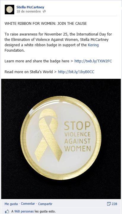 Estella Mcartney apoya el Día Internacional Contra la Violencia Hacia las Mujeres en Facebook.