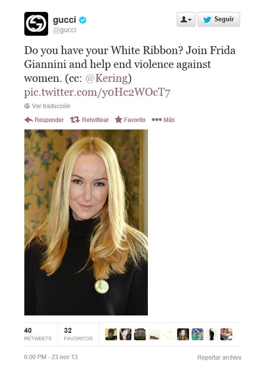 Gucci apoya a través de Twitter la campaña contra la violencia de género promovida por Frida Giannini.