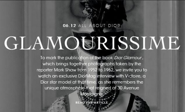Artículo de la revista Dior Mag.