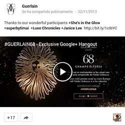Vídeo del Hangout de Guerlain en su perfil de Google+