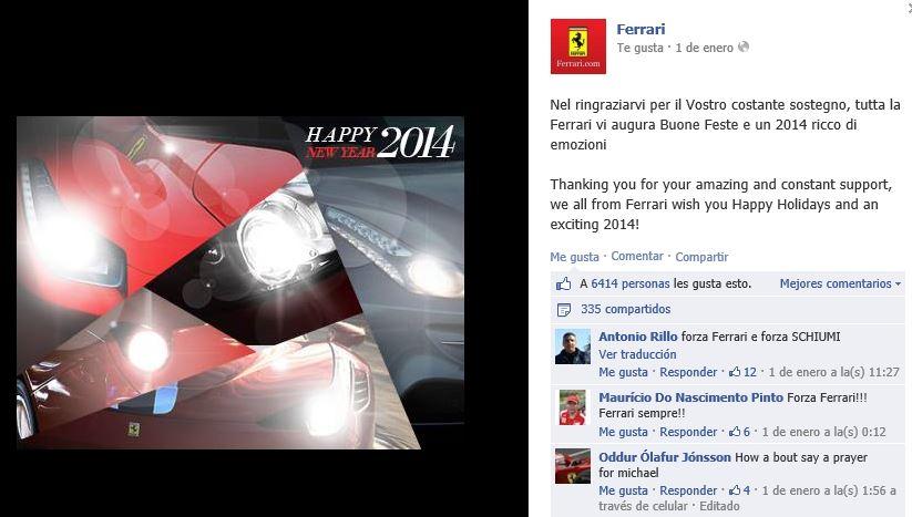 Felicitación de Ferrari en Facebook.