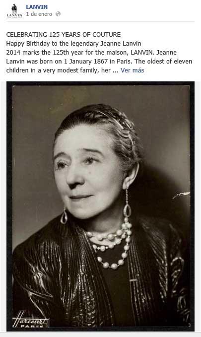Primera  imagen de conmemoración del 125 Aniversario de Lanvin en Facebook.