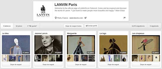 Tableros creados por Lanvin en su perfil de Pinterest.