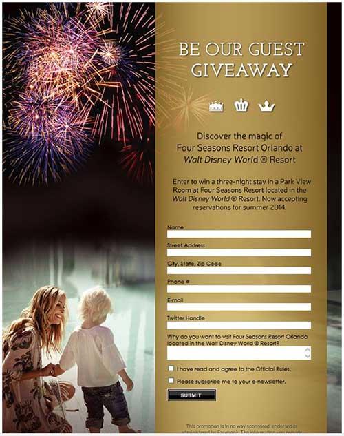 Formulario en Facebook para participar en el concurso de la cadena hotelera de lujo Four Seasons.