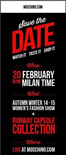 Una de las imégenes con las que Moschino ha dado visibilidad en Redes Sociales a su iniciativa 'Watch, taste, shop'.