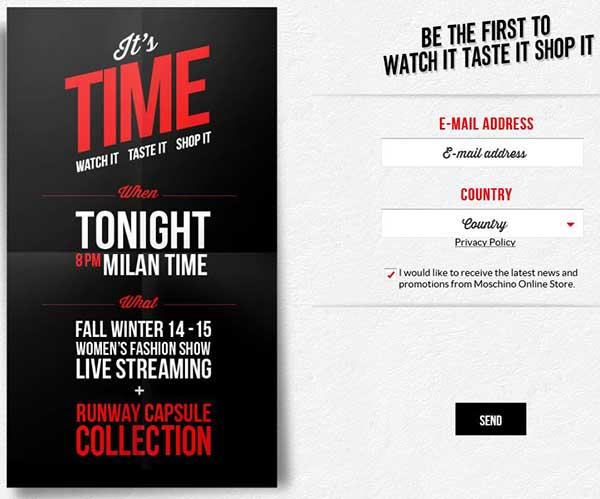 Formulario para poder participar en la promoción 'Watch it, taste it, shop it' de Moschino.