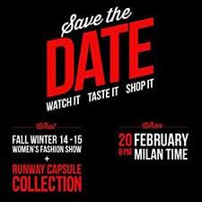 Imagen que anuncia la promoción de Moschino para comprar online su colección durante el desfile en Milán.