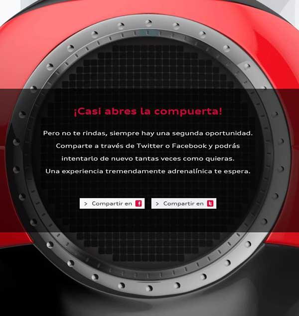 Audi permite repetir intentos en el juego si se comparte la experiencia en Facebook o Twitter.