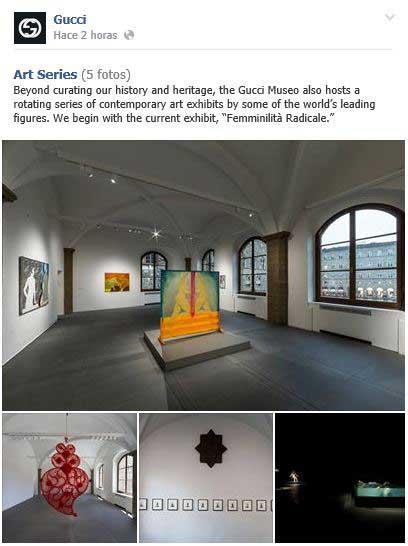 Álbum de fotos en Facebook donde se recogen distintas imágenes de las exposiciones que se pueden visitar en el Museo Gucci.