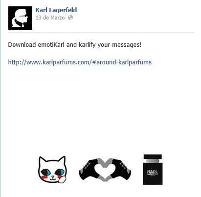 Mensaje en Facebook con el que Lagerfeld anima a sus fans a instalarse la App.