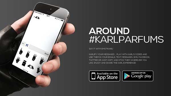El microsite promocional www.karlparfums.com desde el que tambiAi??n se anima a la instalaciA?n de la App.