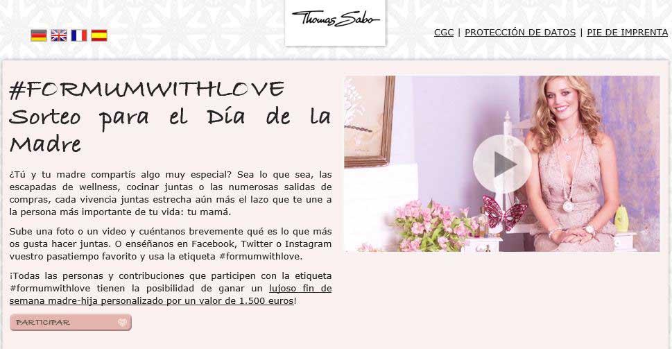 Thomas Sabo explica así en su web en qué consiste el concurso para el Día de la Madre.