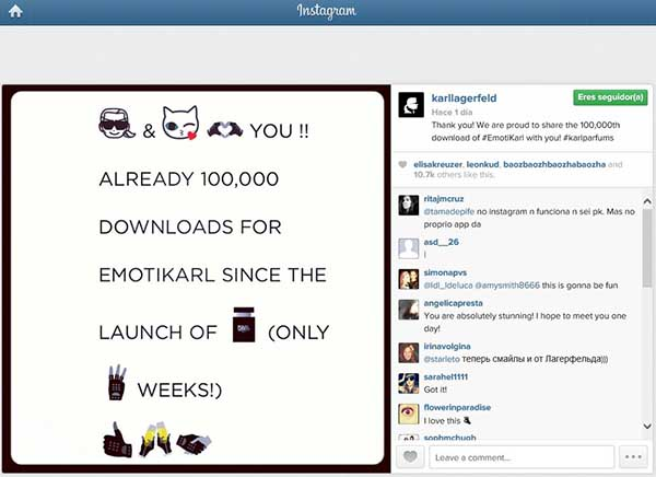 Lagerfeld celebra el éxito en Instagram.