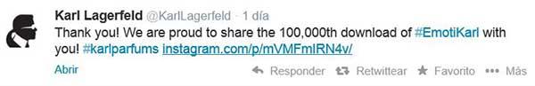La difusión en Twitter de las 100.000 descargas de la aplicación para móvil.
