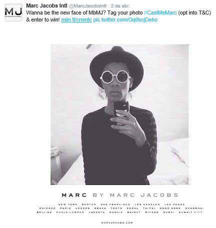 La firma Marc Jacobs anunciando en Twitter el casting.