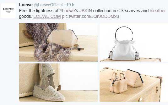 Loewe promociona sus bolsos con la opción collage de Twitter.