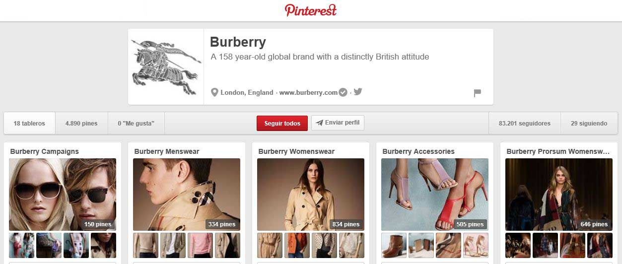 Burberry en Pinterest.