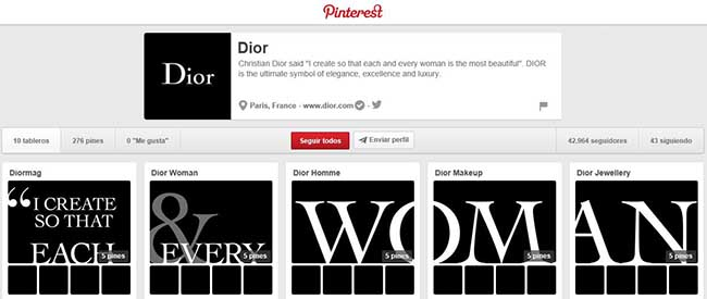Dior en Pinterest.