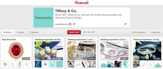 Tiffany and Co. en Pinterest.