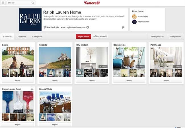 Captura de pantalla del nuevo perfil de Ralph Lauren en Pinterest, dedicado a muebles y decoración.