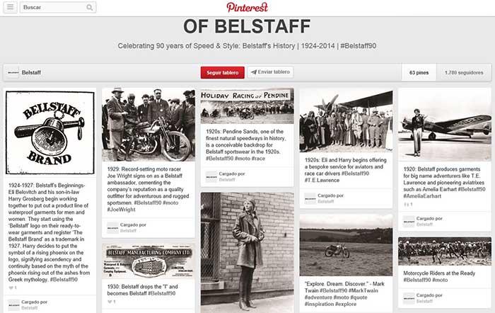Captura de pantalla del álbum conmemorativo de Belstaff en su página de Pinterest.