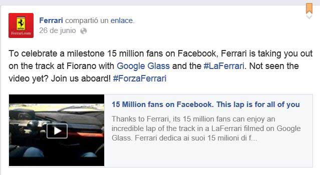 Post compartido por Ferrari en Facebook para poder ver el vAi??deo dedicado a los fans.