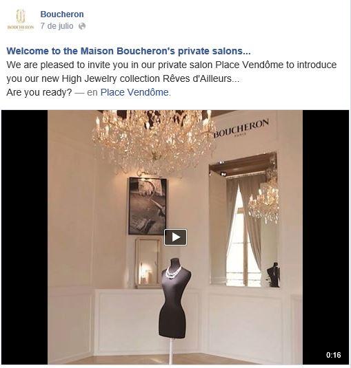 Boucheron invita en Facebook a conocer su boutique parisina, a través de uno de sus vídeos.