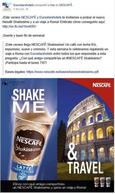 Post de Nescafé compartido por Eurostars donde se promociona el concurso que da la posibilidad de ganar un viaje a Roma.