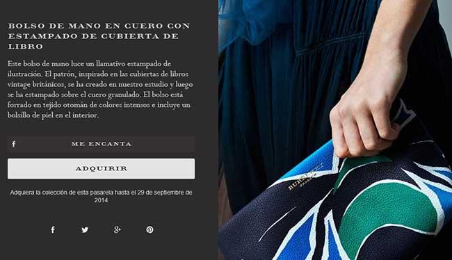 Captura de pantalla de la web de Burberry donde posibilita la compra online de un artículo.