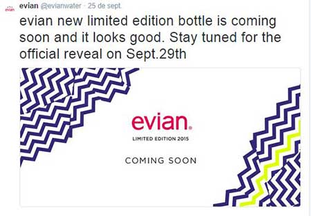 Tweet de Evian anunciando la próxima presentación de su nueva botella de edición limitada.