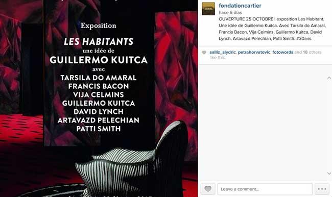 La Fundación difundiendo en su perfil de Instagram la exposición conmemorativa Les Habitants.