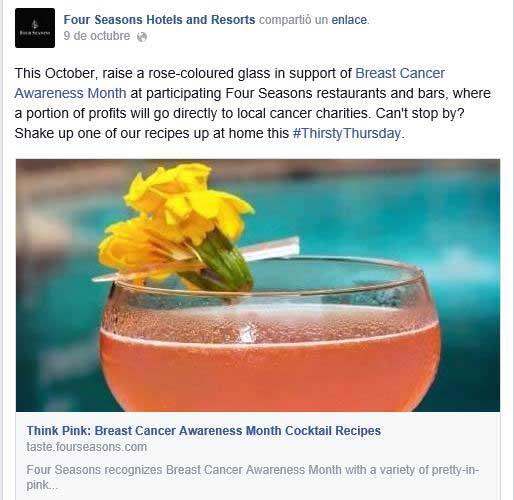 Post compartido en Facebook por Four Seasons para difundir su aportación a la prevención del cáncer de mama.