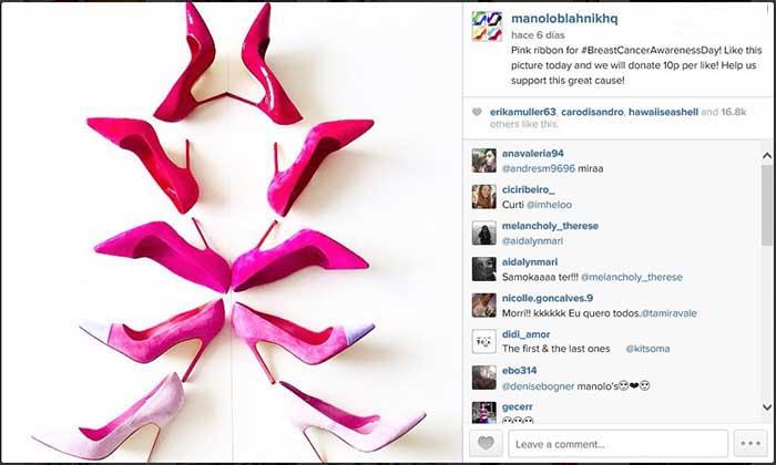 Captura de pantalla de la magen compartida en el perfil de Instagram de Manolo Blahnik.