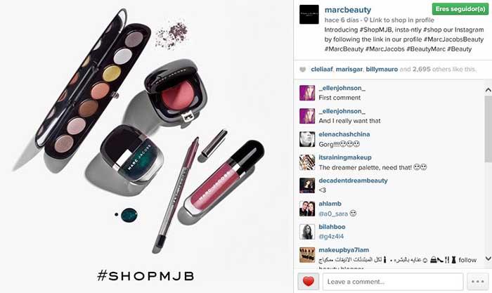 Imagen compartida en Instagram donde aparece el hashtag #shopmjb y se explica el mAi??todo para comprar usando Instagram.