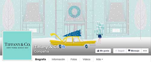 Captura de pantalla de la fan page de Tiffany en Facebook.