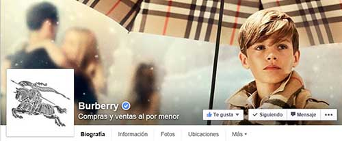 Captura de pantalla de la fan page de Burberry en Facebook.