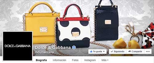 Captura de pantalla de la fan page de Dolce & Gabbana en Facebook.