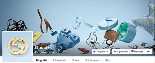 Captura de pantalla de la fan page de Gucci en Facebook.