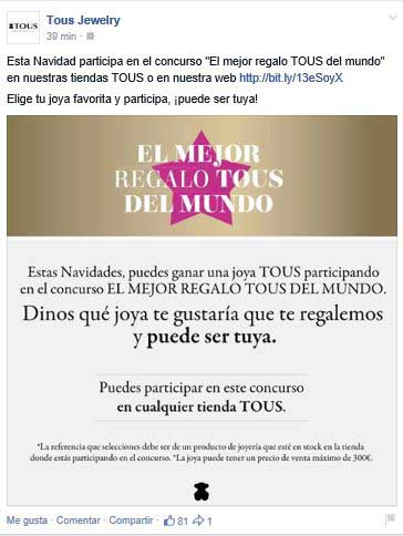 Captura de pantalla de la campaña de Tous promocionada a través de Facebook.