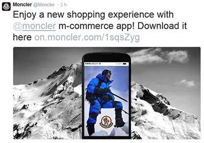 Tweet de Moncler promocionando la nueva plataforma de compras online.