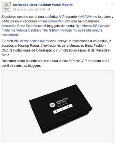 Difusión en Facebook del concurso de Mercedes-Benz Fashion Week.