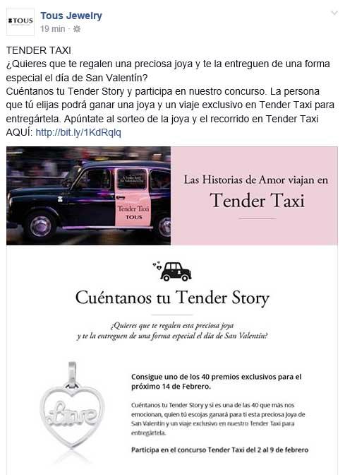 Captura de pantalla del concurso Tender Story de Tous tal y como se difundiA? ayer en Facebook.