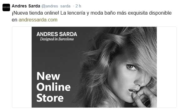 Post compartido en Twitter para anunciar el e-commerce.