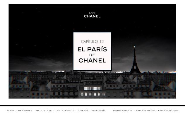 Captura de pantalla de la actual web de Chanel.