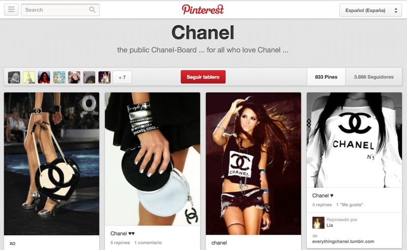 Perfil no oficial de Chanel en Pinterest construido por sus fans.
