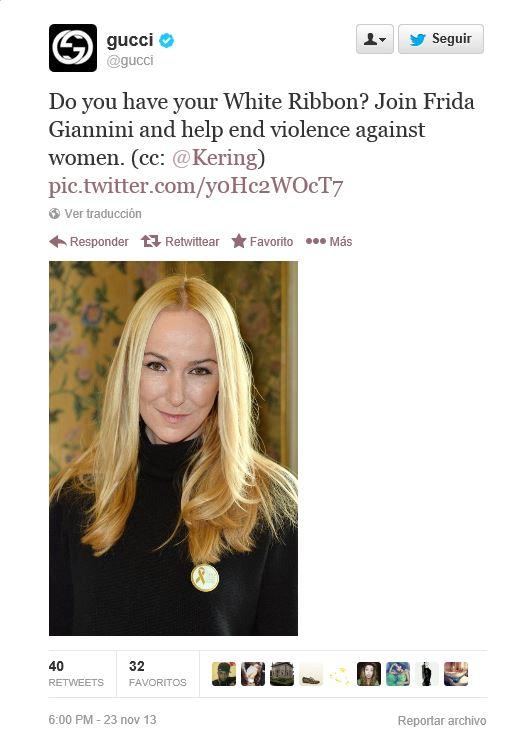 Gucci apoya a travAi??s de Twitter la campaAi??a contra la violencia de gAi??nero promovida por Frida Giannini.