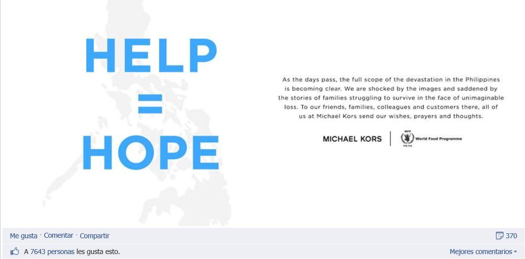 Kors se solidariza con los filipinos a travAi??s de Facebook y recuerda su implicaciA?n en el Programa Mundial de Alimentos de la ONU.
